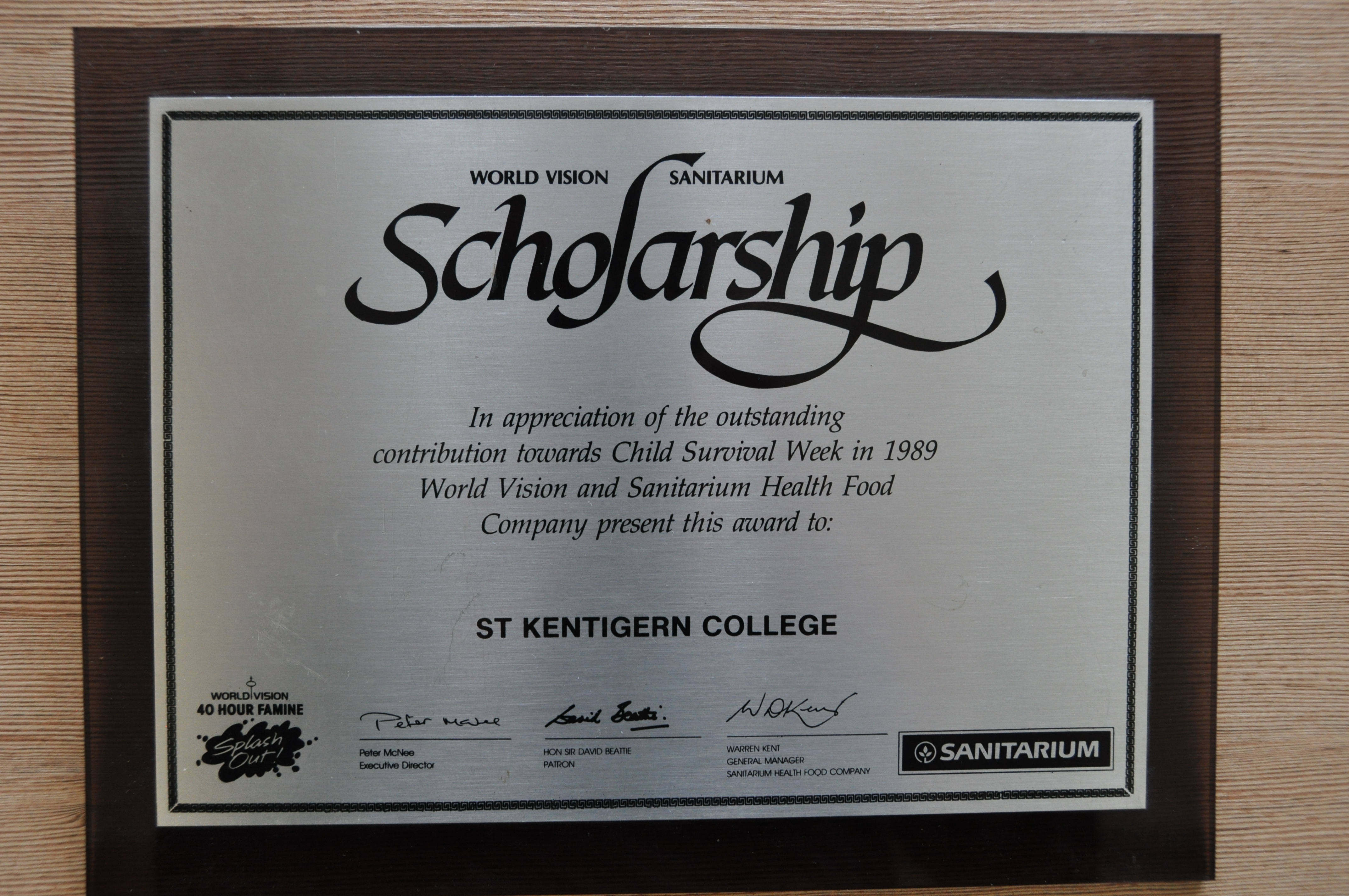 Scholarship awarded to Craig Carden 1989.JPG